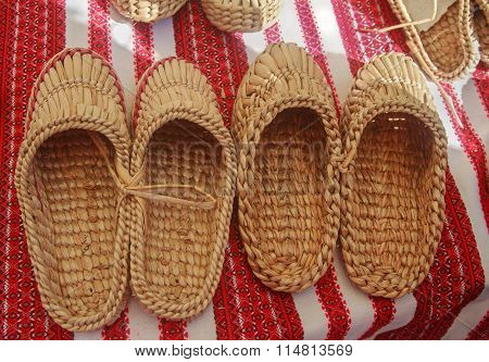 Braided Sandals At The Fair Of Artisans. Ukraine