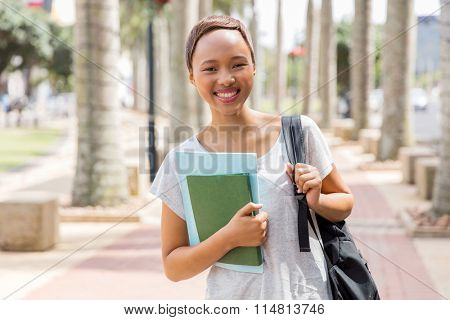 attractive african american college girl going to school