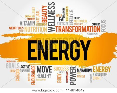 Energy Word Cloud, Fitness, Sport