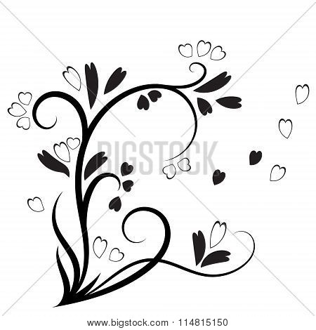 Decorative branch with heart leaves