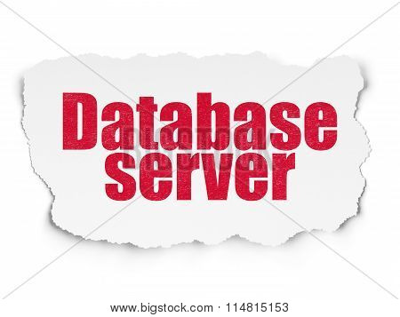 Programming concept: Database Server on Torn Paper background