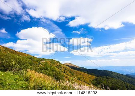 Fantastic mountain landscape. Hot sunny summer day in mountains