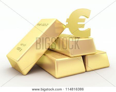 Gold bars and golden euro symbol