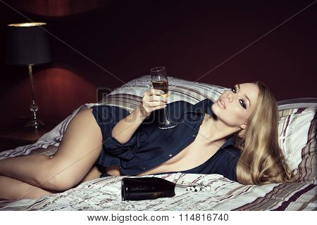 Luxurious Woman With Champagne