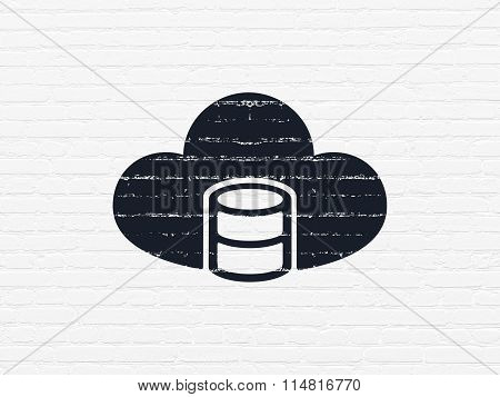 Software concept: Database With Cloud on wall background