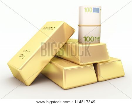 Euro banknote roll and gold bars