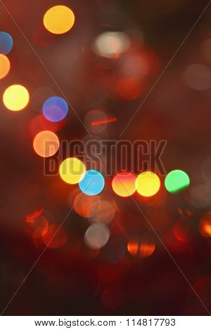 Picture Of Bokeh Illustration With Glowing Round Light Spots Of Fire