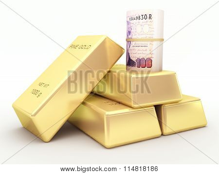 Argentine peso banknote roll and gold bars