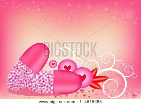 Pink Heart-shaped Capsule In The Capsule. On Background Sweet Pink