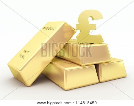 Gold bars and golden pound symbol