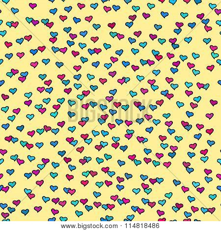 Seamless Pattern With Tiny Colorful Hearts. Abstract Repeating. Cute Backdrop. Yellow Background.