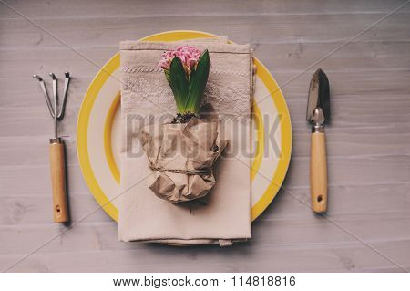 table decorated for Easter with wrapped hyacinth flower garden tools and colorful plate. Cozy home s