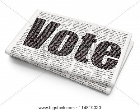 Political concept: Vote on Newspaper background