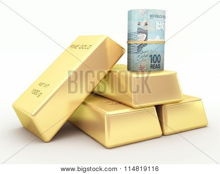 Brazilian real banknote roll and gold bars