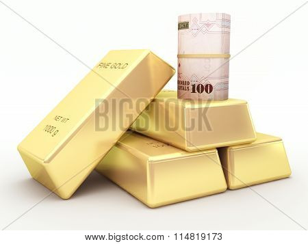 Saudi arabian riyal banknote roll and gold bars