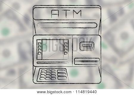Automatic Teller Machine Illustration On Blurred Dollar Background