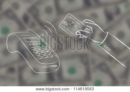 Hand Paying With Contactless Credit Card On Blurred Dollar Background