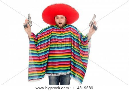 Funny mexican holding pistol isolated on white