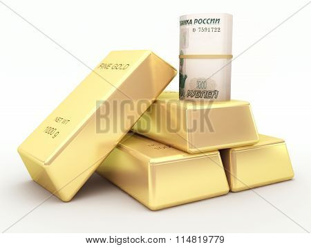 Russian rubles banknote roll and gold bars