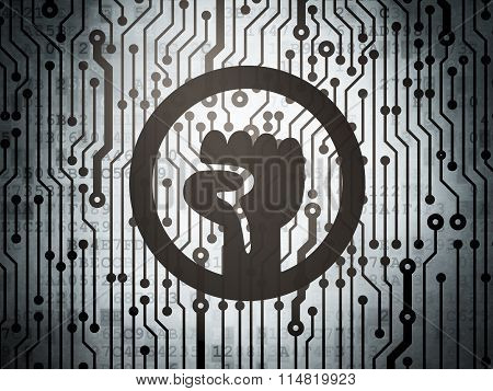 Politics concept: circuit board with Uprising