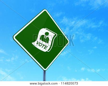 Politics concept: Ballot on road sign background