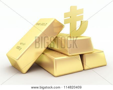 Gold bars and golden Turkish lira symbol