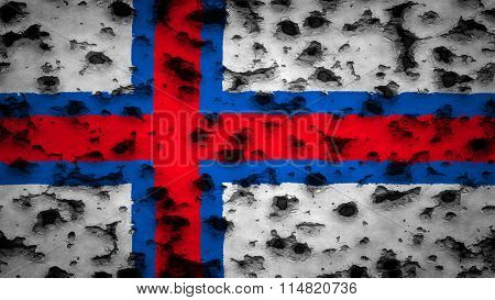 Flag of the Faroe Islands, Faroese flag painted on wall with bullet holes