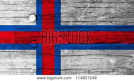 Flag of the Faroe Islands, Faroese flag painted on wood