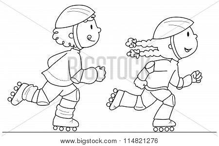 Roller blade skaters