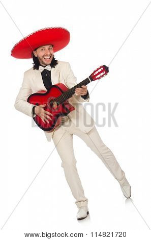 Funny mexican in suit holding guitar isolated on white