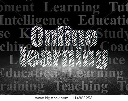 Studying concept: Online Learning in grunge dark room