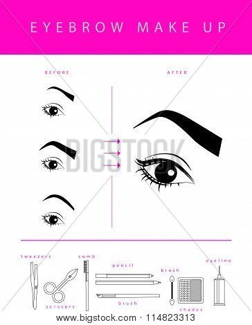 Vector flat eyebrow make up illustration