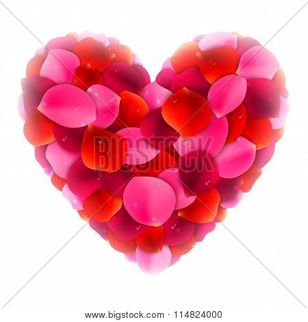 Rose Petals Love Heart