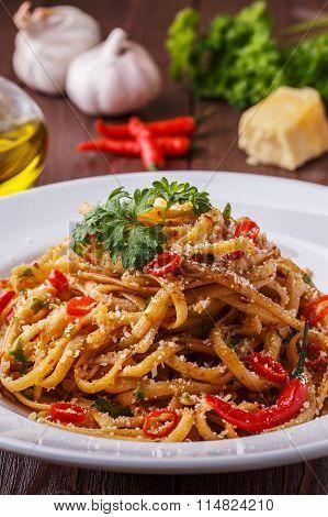 Homemade Linguine Pasta In Arrabbiata Sauce.