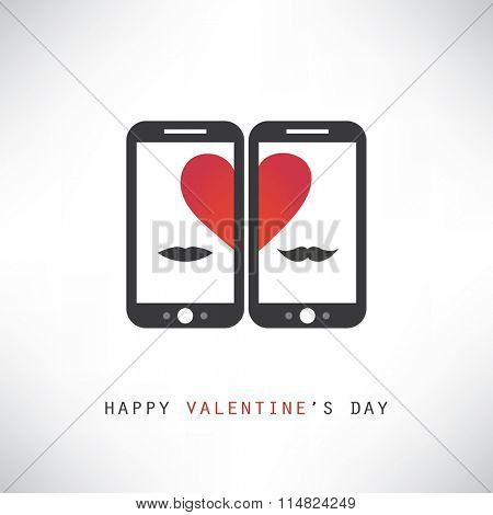 Happy Valentine's Day Card With Smart Phones