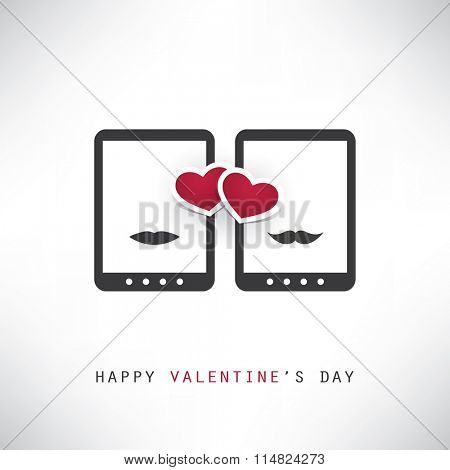 Happy Valentine's Day Card With Smart Phones or Tablets