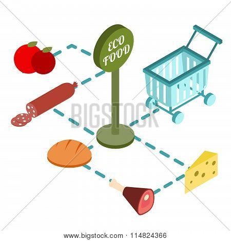 Supermarket Basket Isometric With Eco Foods