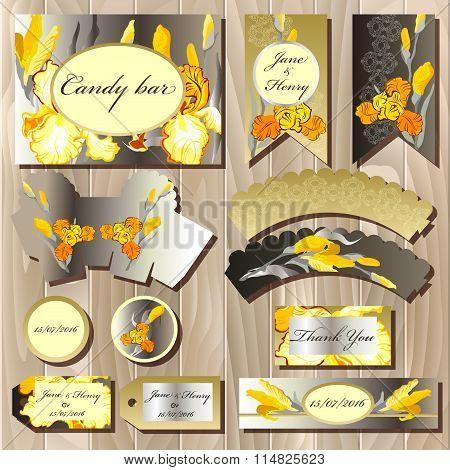 Candy bar wedding design set with iris flowers.