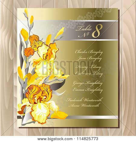 Table guest list. Yellow iris flowers design.