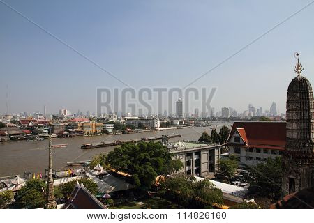 Chao phraya river from Wat Arun in Bangkok Thailand