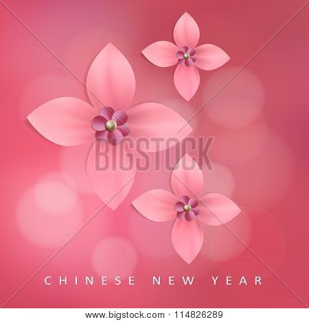 Chinese New Year Greeting Card With Pink Paper Flowers, Vector