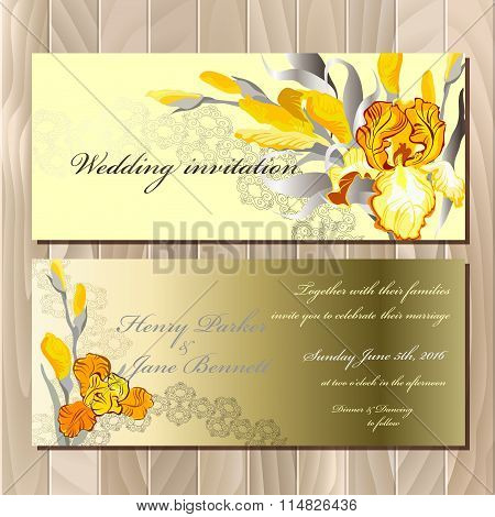 Wedding card with yellow iris bouquet background.