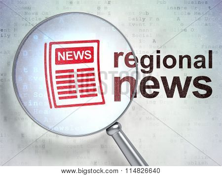 News concept: Newspaper and Regional News with optical glass