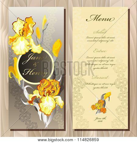 Iris flower wedding menu card. Vector illustration