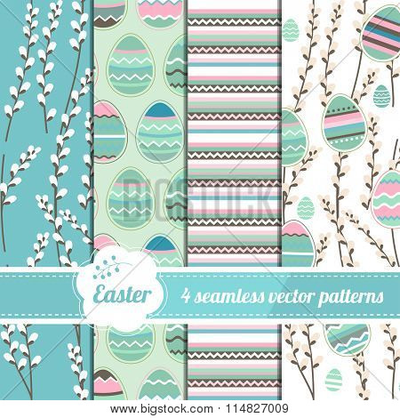 Collection of seamless blue patterns with stylized painted eggs. Endless easter texture for your design, announcements, greeting cards, posters, advertisement.