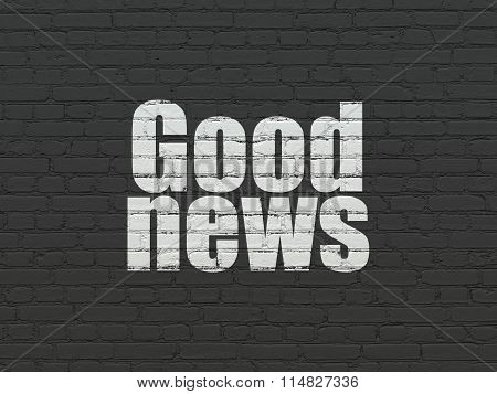 News concept: Good News on wall background