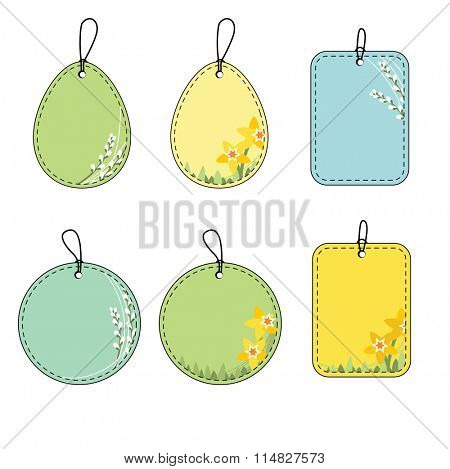 Set with floral easter tags. Daffodil and pussy willow