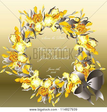 Wedding card with yellow irises wreath background.