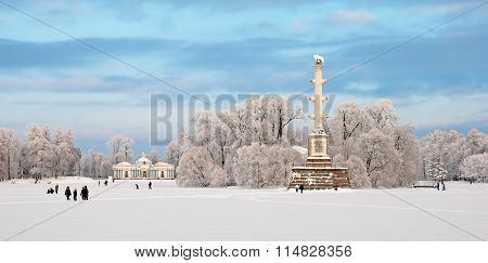 Tsarskoye Selo. Russia. The Chesme Column