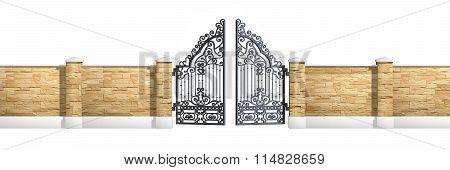 Classical design black iron gate